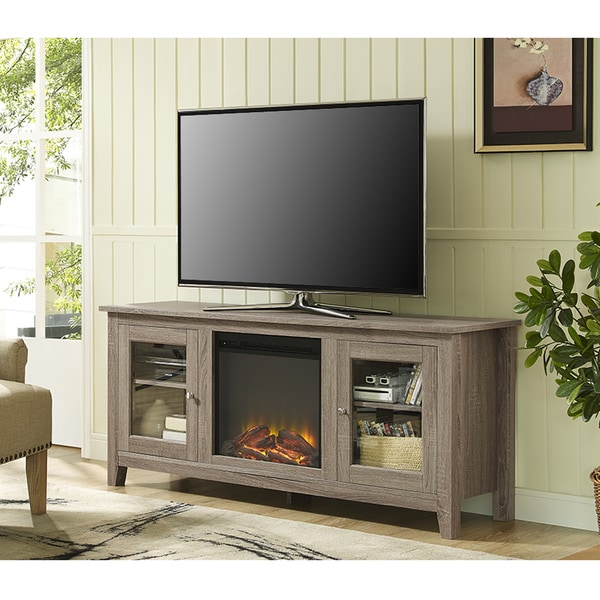 58 Fireplace Stand With Doors Driftwood Free Shipping Today 17684362