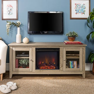 """58-inch Driftwood Electric Fireplace TV Stand with Doors - 25""""h x 58.25""""l x 15.75""""d"""