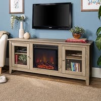 58-inch Driftwood Electric Fireplace TV Stand with Doors