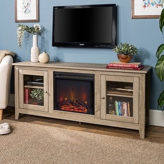 "58-inch Driftwood Electric Fireplace TV Stand with Doors - 25""h x 58.25""l x 15.75""d"