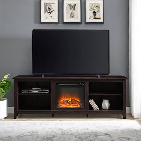 70-inch Espresso Fireplace TV Stand Console with Adjustable Shelving