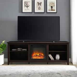 70 Inch Espresso Fireplace TV Stand