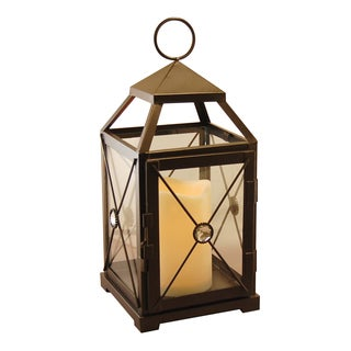 Warm Black Gem Metal Lantern with LED Candle, and Timer