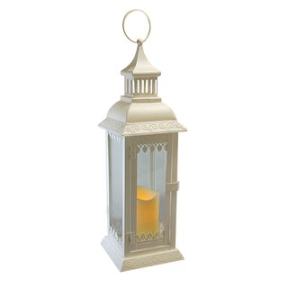 White Leaf Metal Lantern with LED Candle