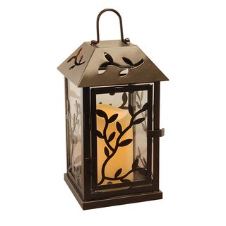 Copper Grove Derrick Black Vine Metal Lantern with LED Candle