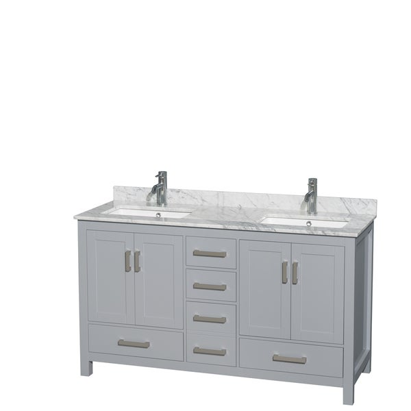 Wyndham Collection Sheffield 60 Inch Gray Double Vanity Undermount Square Sinks