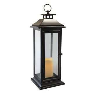 Traditional Black Metal Lantern with Battery Operated LED Candle, and Timer