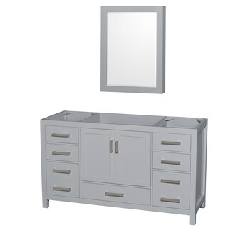 Wyndham Collection Sheffield 60-inch Gray Single Vanity, Medicine Cabinet