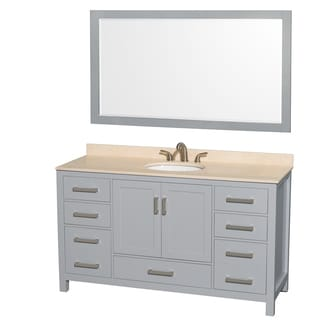 Wyndham Collection Sheffield 60-inch Gray Single Vanity, Undermount Oval Sink, 58-inch Mirror
