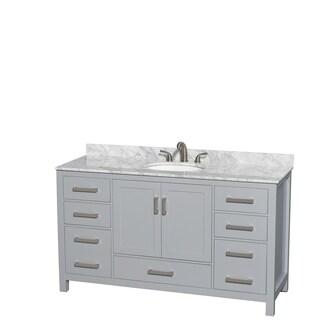 Wyndham Collection Sheffield 60-inch Gray Single Vanity, Undermount Oval Sink