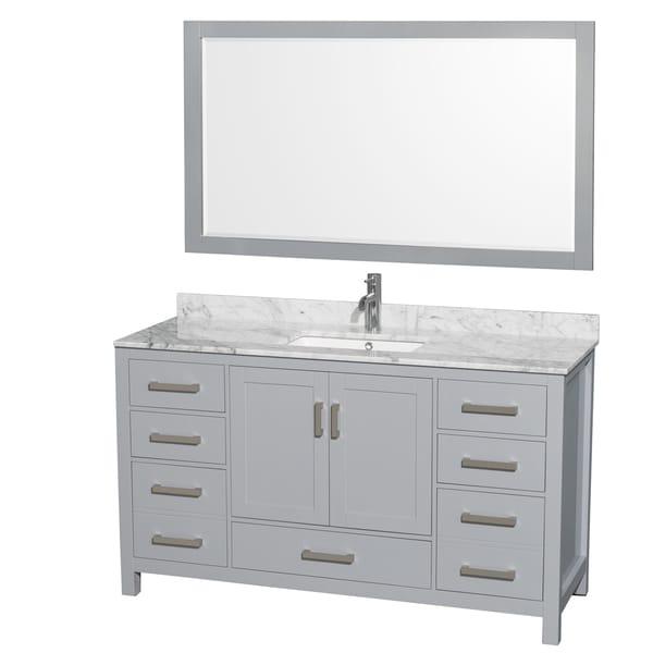 58 Bathroom Vanity Single Sink: Shop Wyndham Collection Sheffield 60-inch Gray Single