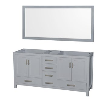 Wyndham Collection Sheffield 72-inch Gray Double Vanity, 70-inch Mirror