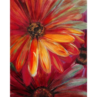 Lilian Floral Hand-embellished Giclee Canvas Art Print (24 x 36-inch)