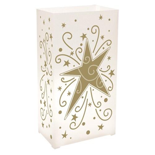 Star Plastic Luminaria Lanterns (Set of 100) (Gold Star)