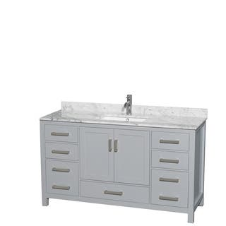 Wyndham Collection Sheffield 60 Inch Gray Single Vanity Undermount Square Sink