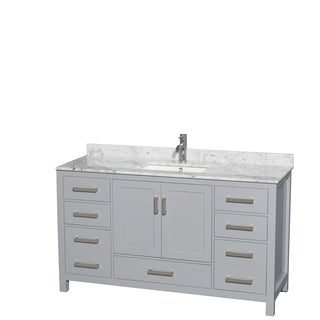 Wyndham Collection Sheffield 60 Inch Gray Single Vanity, Undermount Square  Sink