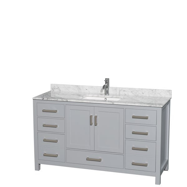 Wyndham Collection Sheffield 60-inch Gray Single Vanity, Undermount Square Sink