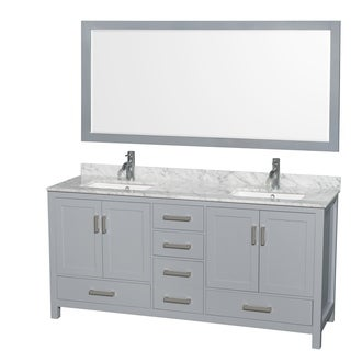 Wyndham Collection Sheffield 72-inch Gray Double Vanity, Undermount Square Sinks, 70-inch Mirror