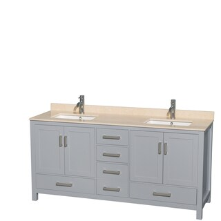 Wyndham Collection Sheffield 72-inch Gray Double Vanity, Undermount Square Sinks