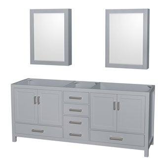 Wyndham Collection Sheffield 80-inch Gray Double Vanity, Medicine Cabinets
