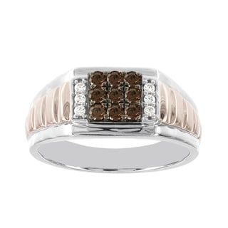 H Star 10k Rose and White Gold Men's 1/2ct TDW Brown and White Diamond Ring (I-J, I2-I3)