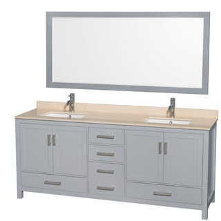 Wyndham Collection Sheffield 80-inch Gray Double Vanity, Undermount Square Sinks, 70-inch Mirror