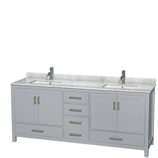 Wyndham Collection Sheffield 80-inch Gray Double Vanity, Undermount Square Sinks
