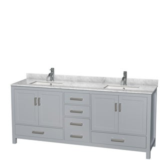 Wyndham Collection Sheffield 80-inch Gray Double Vanity, Undermount Square Sinks (2 options available)