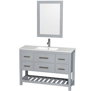 Wyndham Collection Natalie 48-inch Gray Single Vanity, White Porcelain Top, Integrated Sink, 24-inch Mirror