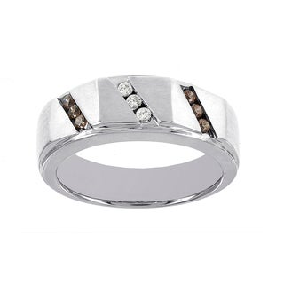 H Star 10k White Gold Men's 1/4ct TDW Brown and White Diamond Band (I-J, I2-I3)