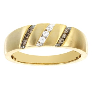 H Star 10k Yellow Gold Men's 1/4ct TDW Brown and White Diamond Ring (I-J, I2-I3)