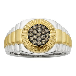 H Star 10k Yellow Gold and White Gold 1/4ct Brown Diamond Men's Fashion Ring