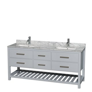 Wyndham Collection Natalie 72-inch Gray Double Vanity, Undermount Square sinks