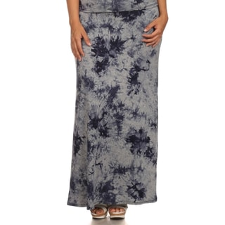 MOA Collection Women's Plus Size Full Tie-Dye Maxi High Waist Skirt