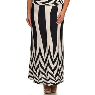 MOA Collection Women's Plus Size Black/ White Geometric Maxi Skirt (Option: Xl)