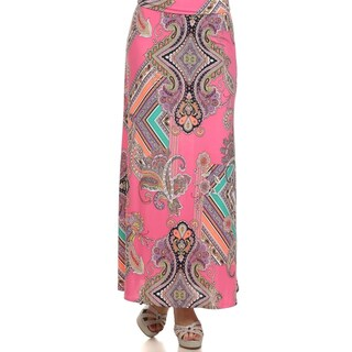 MOA Collection Women's Plus Size Paisley Print Maxi Skirt
