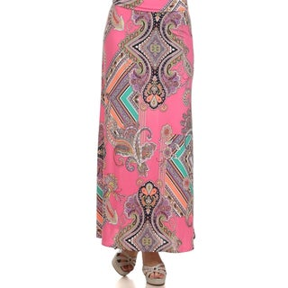 MOA Collection Women's Plus Size Paisley Print Maxi Skirt (More options available)