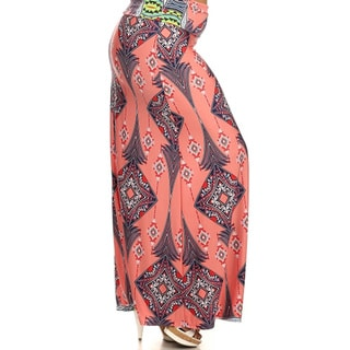 MOA Collection Women's Plus Size Multicolored Print Maxi Skirt