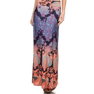 MOA Collection Women's Plus Size Damask Print Maxi Skirt