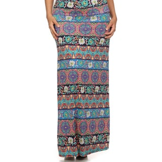 MOA Collection Women's Plus Size Floral Print Maxi Skirt
