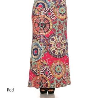 MOA Collection Women's Plus Printed Paisley Maxi Skirt