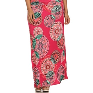 MOA Collection Women's Plus Mandala Print Maxi Skirt