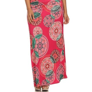MOA Collection Women's Plus Mandala Print Maxi Skirt