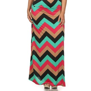 MOA Collection Women's Plus Chevron Print Maxi Skirt