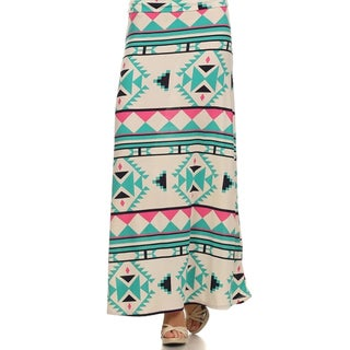 MOA Collection Women's Plus Blue Aztec Print Maxi Skirt