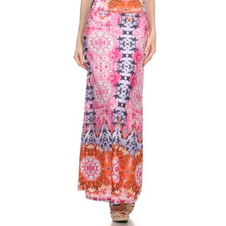 MOA Collection Women's Plus Print Maxi High Waist Skirt