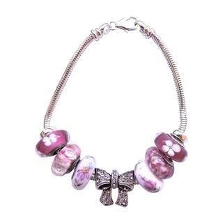 Sterling Silver Pink Glass Bead Flower Bouquet Bracelet