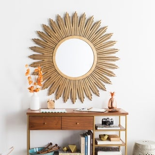"Maggie Gilded Finish Accent Mirror - 47"" x 47"" - Aged Gold - 47"" x 47"""