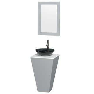 Wyndham Collection Esprit 20-inch Gray Pedestal Vanity, White Stone Top, Smoke Glass Vessel Sink, 20-inch Mirror