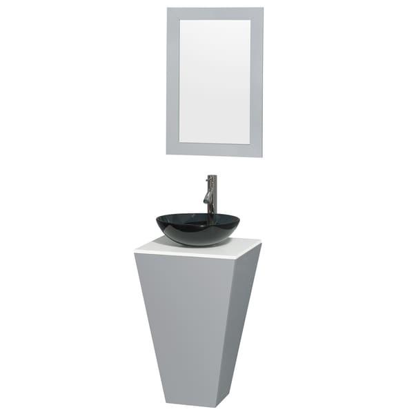 Wyndham Collection Esprit 20 Inch Gray Pedestal Vanity, White Stone Top,  Smoke Glass
